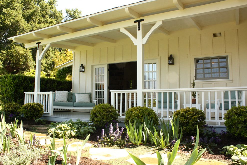 Batte Furniture for a Farmhouse Porch with a White Wood Railing and maryhouse.jpg by Shannon Malone