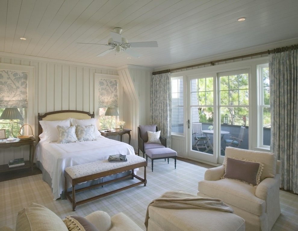 Batte Furniture for a Shabby-Chic Style Bedroom with a Wood Walls and Master Bedroom by Christopher a Rose AIA, ASID