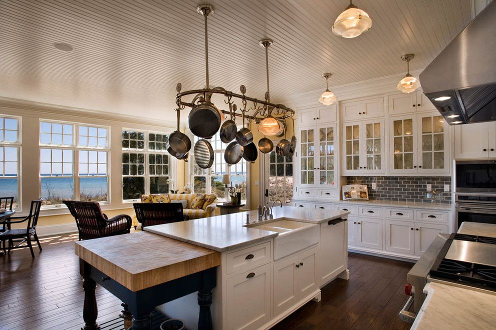 b&b Appliances for a Beach Style Kitchen with a Beadboard Ceiling and the Redfield Home by Mitch Wise Design,Inc.