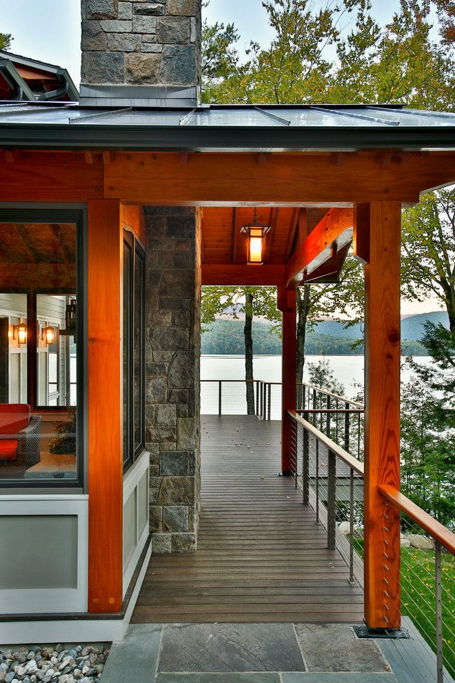 Beautiful Backyards for a Rustic Deck with a Rustic and Bolton Landing Modern Cabin by Teakwood Builders, Inc.