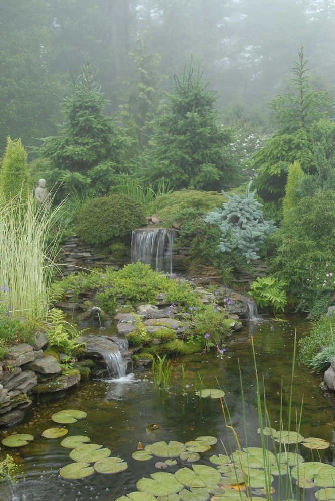 Beautiful Backyards for a Traditional Landscape with a Pond and Pocket Garden by James R. Salomon Photography