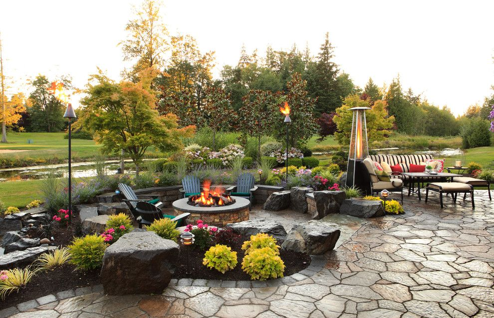 Beautiful Backyards for a Traditional Patio with a Black Adirondack Chairs and Patios and Pavers by Alderwood Landscape Architecture and Construction