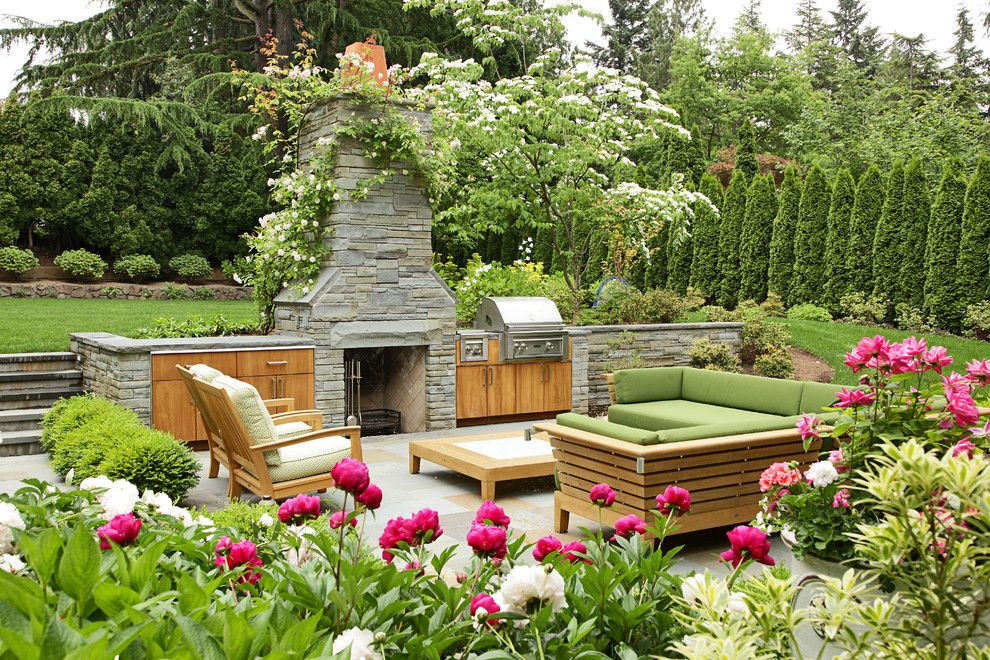 Beautiful Backyards for a Traditional Patio with a Wood Patio Furniture and Hawthorne Hills Residence by Kenneth Philp Landscape Architects