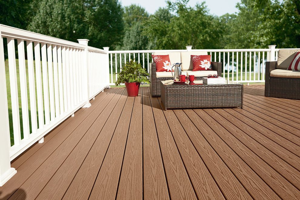 Bedroom Color Schemes for a  Deck with a White Railing and Fiberon by Fiberon Decking