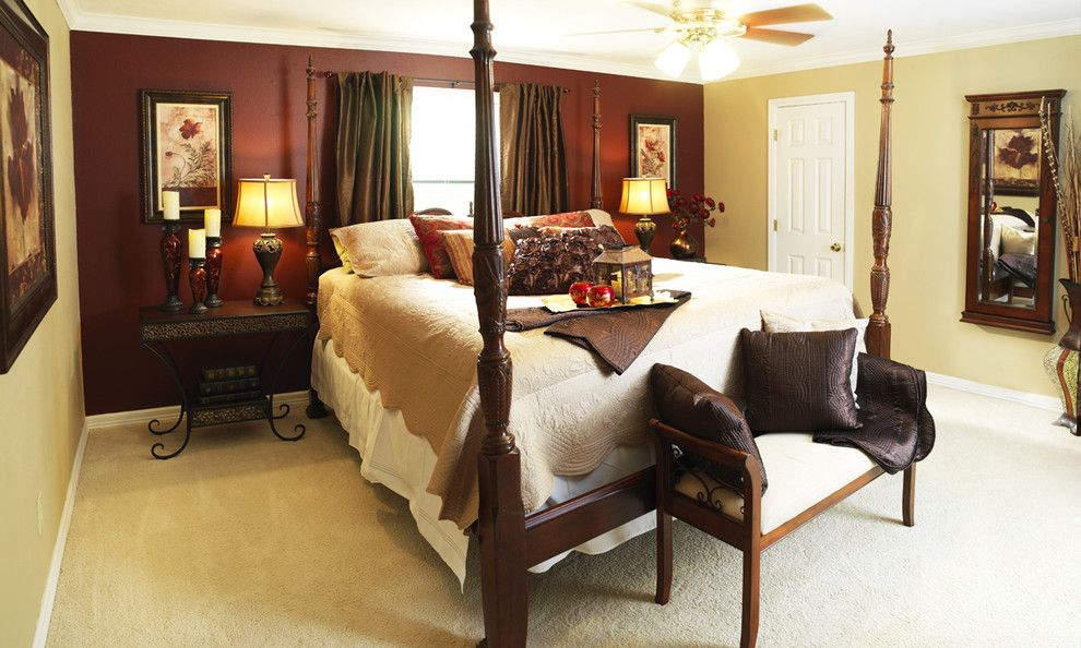 Bedroom Color Schemes for a Eclectic Bedroom with a Candle Holders and Hampton Master Bedroom by Cecilia Staniec
