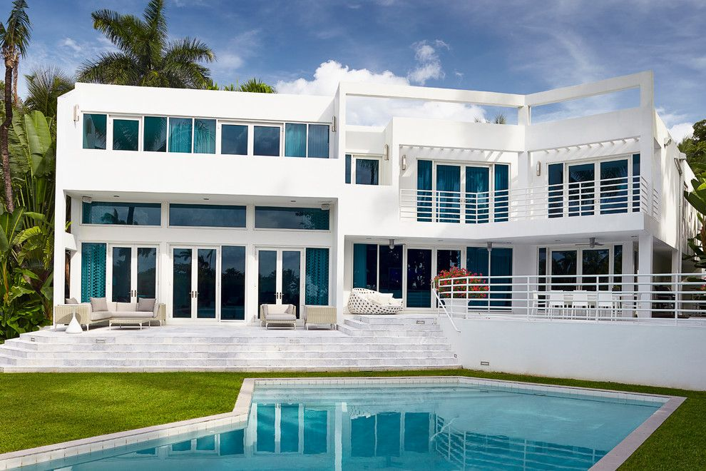 Bega Lighting for a Contemporary Exterior with a Clerestory Windows and Sunset Island Residence, Miami Beach by Brown Davis Interiors, Inc.