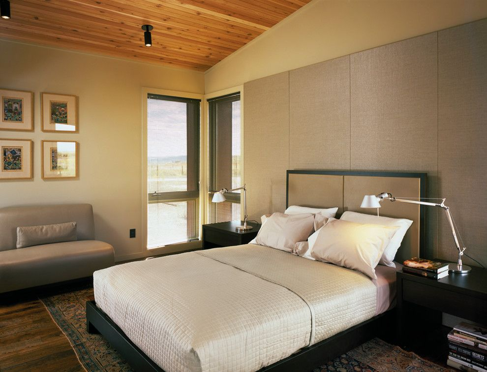 Bega Lighting for a Rustic Bedroom with a Bedside Tables and New Fork Social Club by Carney Logan Burke Architects