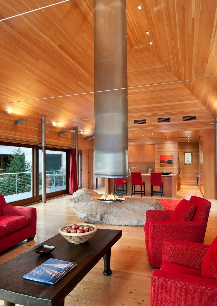 Bega Lighting for a Transitional Living Room with a Granite and Pond House by Eric Reinholdt, Architect