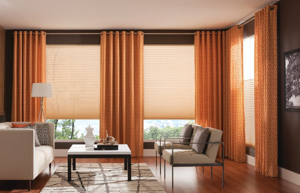 Behr Deckover Reviews for a Contemporary Living Room with a Drapes and Vibrant Drapery Panels by Budget Blinds