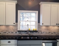 Behr Deckover Reviews for a Traditional Kitchen with a Painted White Cabinets and Multi-Tone and Multi-Finish Kitchens by CliqStudios Cabinets