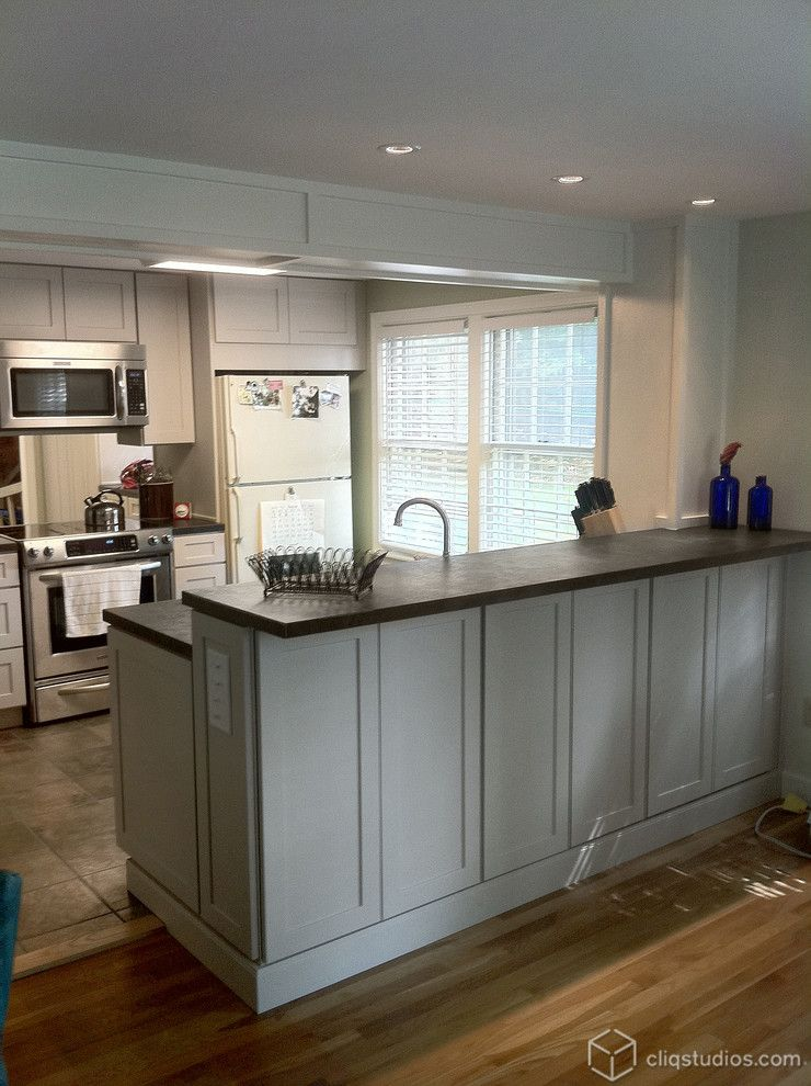 Behr Deckover Reviews For A Traditional Kitchen With A White Cabinets And  Urban Stone Kitchen Remodel
