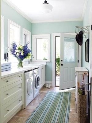 Behr Deckover Reviews for a Traditional Laundry Room with a Robins Egg Blue and Fresh Laundry by Skatermom