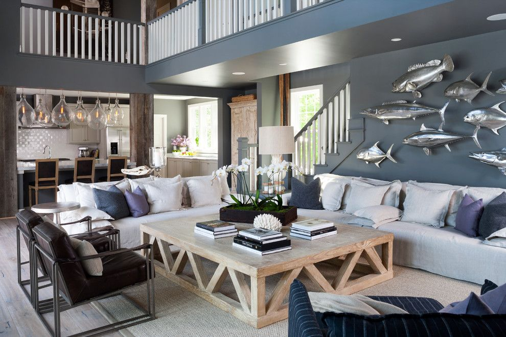 Behr Swiss Coffee for a Beach Style Family Room with a Nautical Theme and Custom Home Rehoboth Beach by Opal, Llc