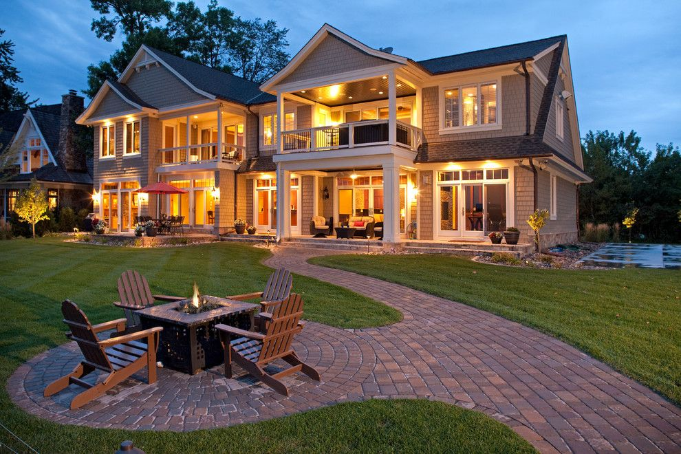 Belgard Pavers for a Traditional Exterior with a White Trim and Tonka Bay (Lake Minnetonka) Addition by John Kraemer & Sons
