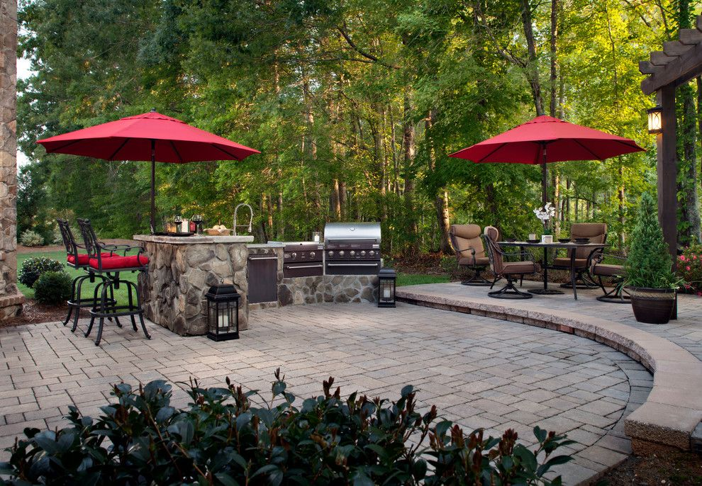 Belgard Pavers for a Traditional Patio with a Red Umbrellas and Past Projects by Overstream, Inc.