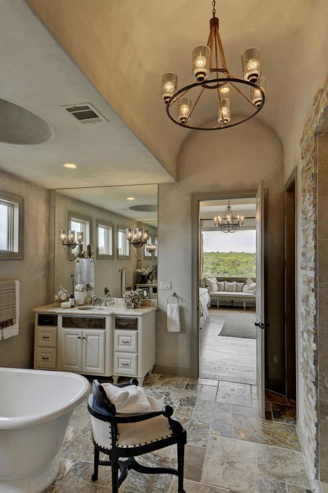 Bella Vita Custom Homes for a Mediterranean Bathroom with a Beige Floor Tile and Rough Hollow by Bella Vita Custom Homes & Remodeling