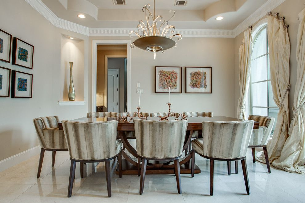 Bella Vita Custom Homes for a Mediterranean Dining Room with a Contemporary Chandelier and Magnificent Mediterranean by Bella Vita Custom Homes & Remodeling