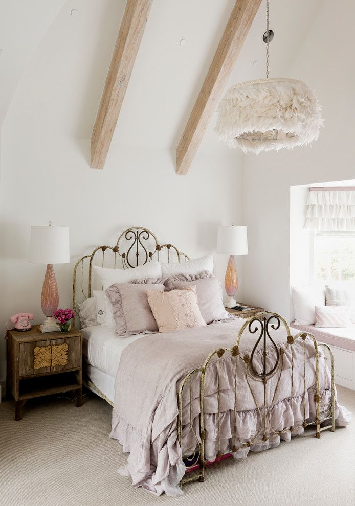 Bella Vita Custom Homes for a Shabby Chic Style Bedroom with a Window Treatment and Wilding by Thompson Custom Homes