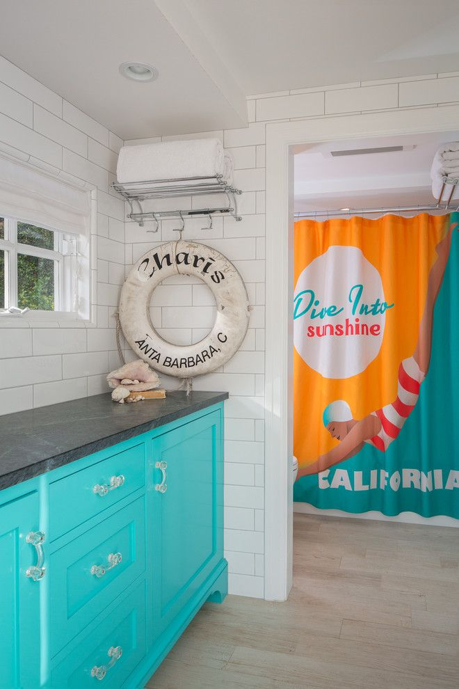 Benjamin Moore Beach Glass for a Beach Style Bathroom with a Beach Style and California Collected by Shannon Ggem Asid