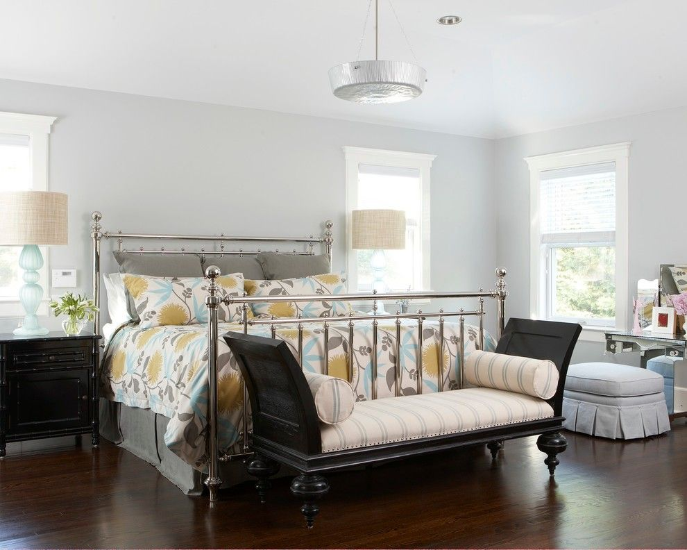 Benjamin Moore Beach Glass for a Beach Style Bedroom with a Skirted Stool and Spring Lake Beach Chic by Threshold Interiors