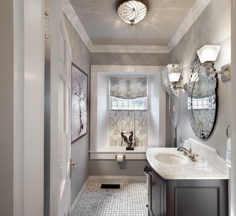 Benjamin Moore Beach Glass for a Traditional Bathroom with a ...
