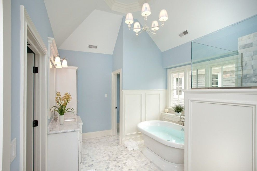 Benjamin Moore Beach Glass for a Traditional Bathroom with a Sloped Ceilings and Oakley Home Builders by Oakley Home Builders