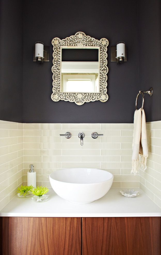 Benjamin Moore Beach Glass for a Transitional Powder Room with a Transitional and Lucy Mclintic by Lucy Mclintic