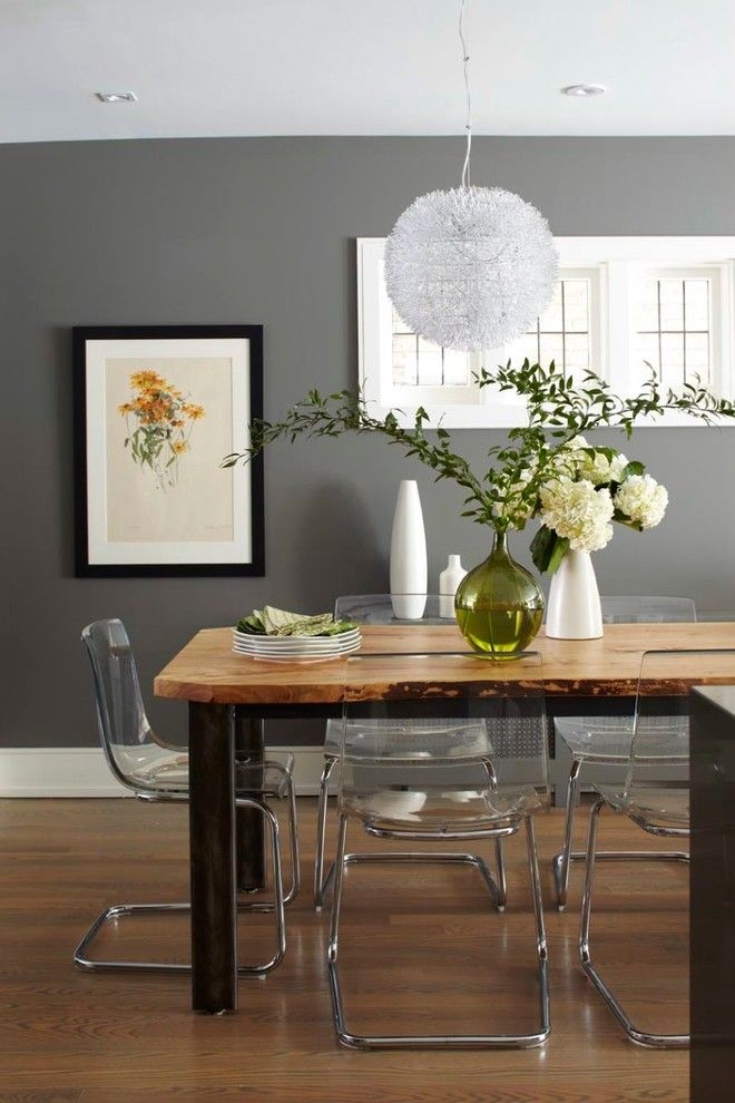 Benjamin Moore Coventry Gray for a Contemporary Dining Room with a E Floor and Briar Hill Ave. by Barlow Reid Design