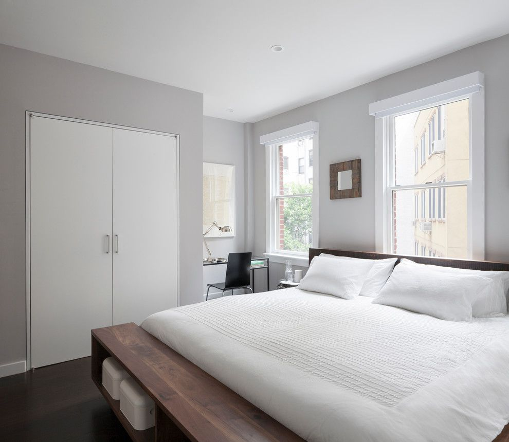 Benjamin Moore Coventry Gray for a Modern Bedroom with a Inset Doors and East Village Duplex by General Assembly