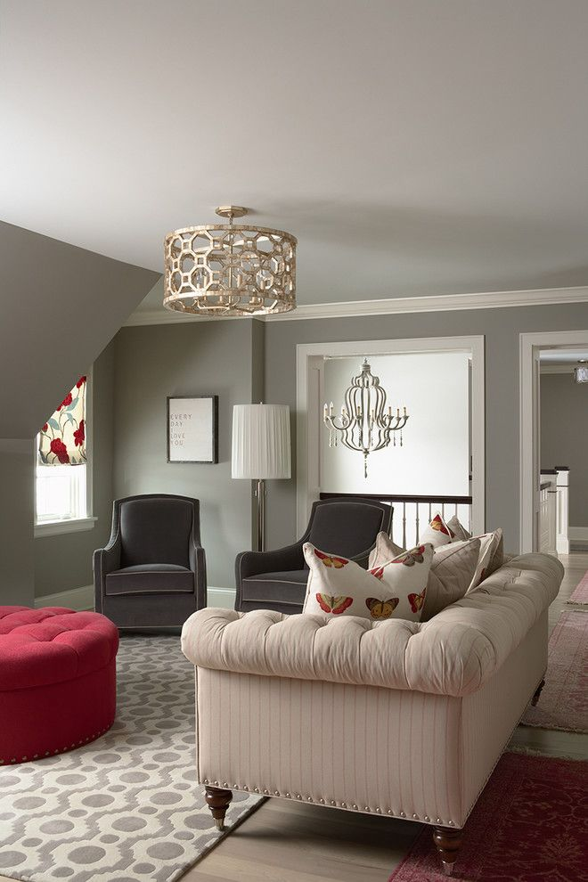 Benjamin Moore Coventry Gray for a Traditional Family Room with a Lounge Chairs and Bridge Street Residence Family Room by Martha O'hara Interiors