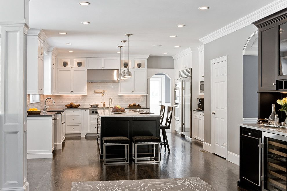 Benjamin Moore Coventry Gray for a Traditional Kitchen with a Crown Molding and Needham Kitchen by Venegas and Company