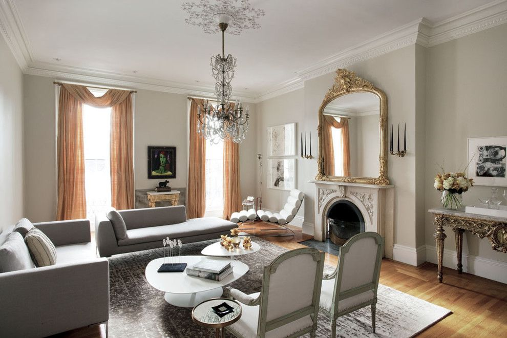 Benjamin Moore Dove White for a Eclectic Living Room with a Wood Flooring and Boston Common House by Ruhl Walker Architects