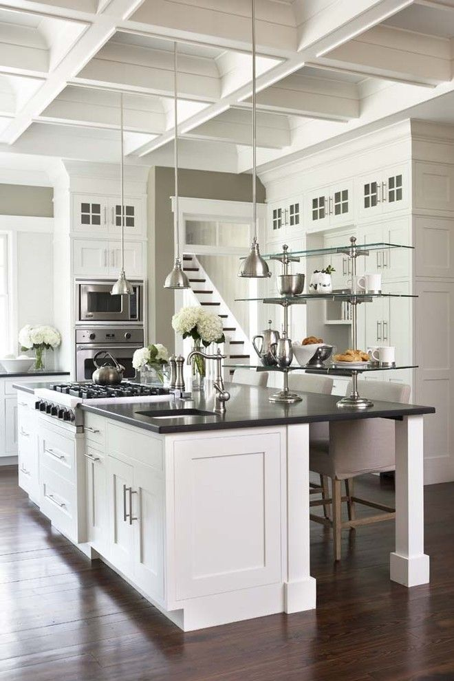 Benjamin Moore Dove White for a Traditional Kitchen with a Island Lighting and Palmetto Bluff - Private Residence by Linda McDougald Design | Postcard From Paris Home