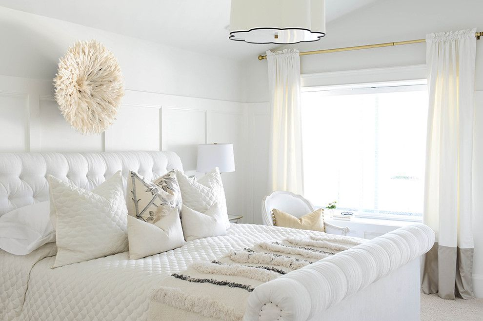 Benjamin Moore Dove White for a Transitional Bedroom with a Master Bedroom and Yorkston Home by Monika Hibbs