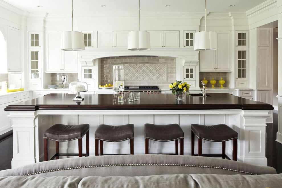 Benjamin Moore Dove White for a Transitional Kitchen with a Over Size Island and Parkwood Road Residence Kitchen by Martha O'hara Interiors