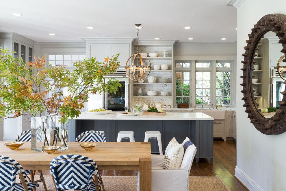Benjamin Moore Edgecomb Gray for a Beach Style Kitchen with a Rustic Wheel Mirror and Open Plan Traditional  Modern Living for Today's Family by Heydt Designs