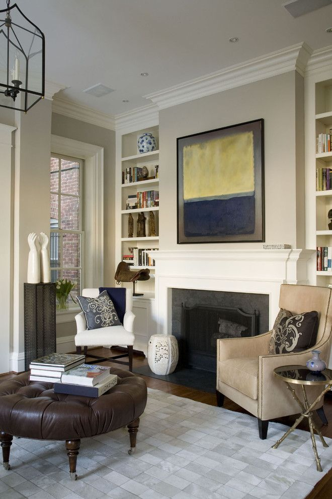 Benjamin Moore Edgecomb Gray for a Traditional Living Room with a Fireplace and Georgetwon House by Patrick Sutton Associates