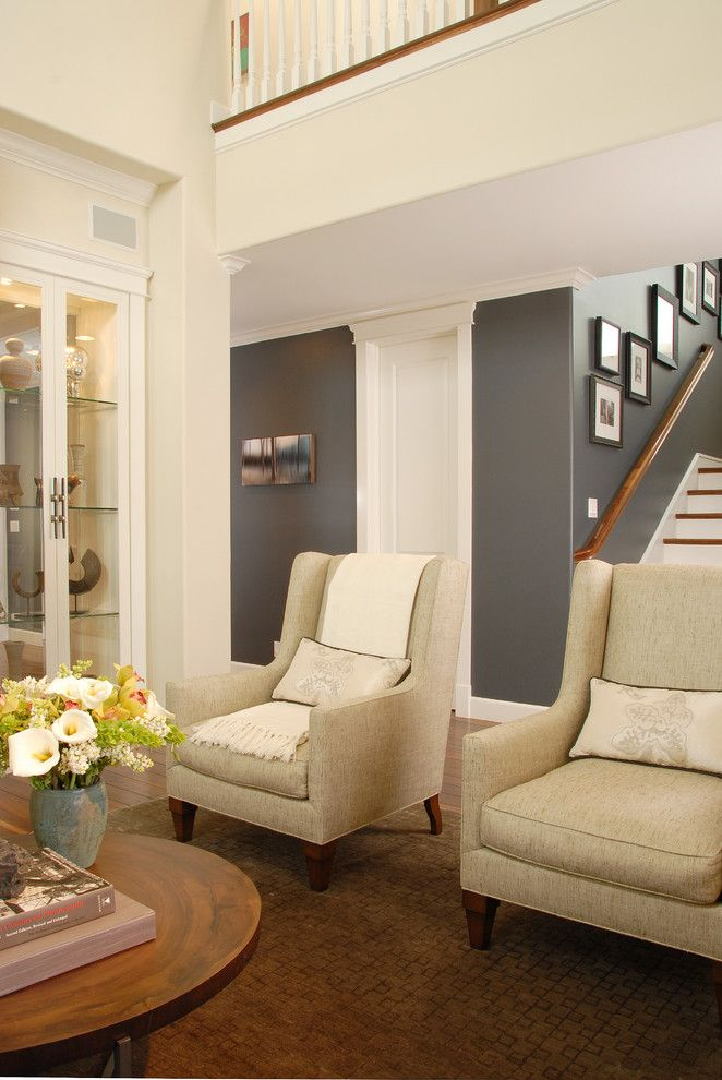 Benjamin Moore Edgecomb Gray for a Transitional Living Room with a Dining Buffet and Manhattan Beach Haven by Annette English