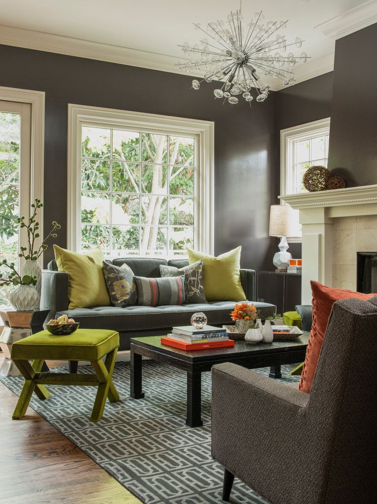 Benjamin Moore Edgecomb Gray for a Transitional Living Room with a Gray Sofa and Funky and Fun Living Room by Ann Lowengart Interiors