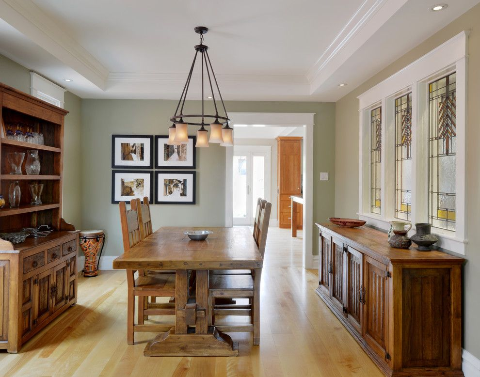 Benjamin Moore Grant Beige for a Traditional Dining Room with a Stained Glass Window and Cameron (Ottawa)  Project by Chuck Mills Design