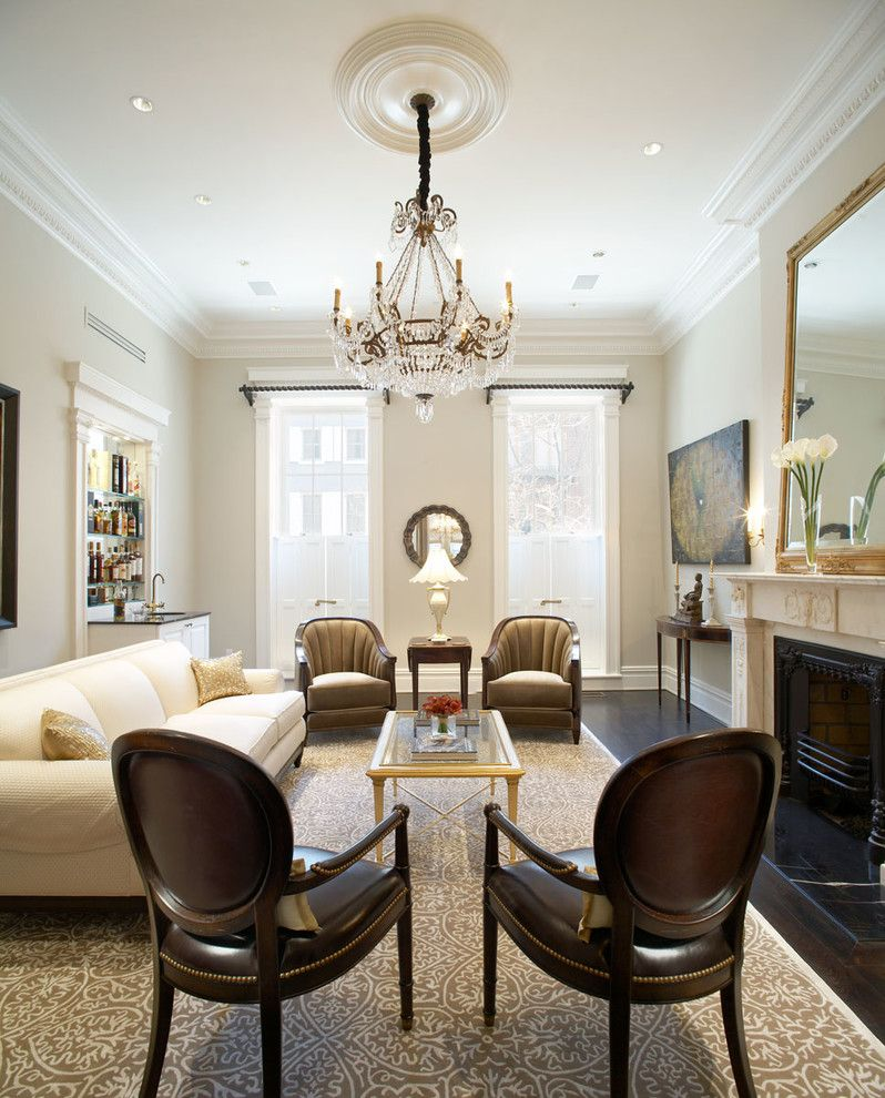 Benjamin Moore Grant Beige for a Traditional Living Room with a Large Patterned Area Rug and Waverly Place Townhouse by Matiz Architecture & Design