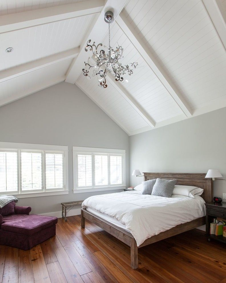 Benjamin Moore Gray Owl for a Traditional Bedroom with a Chandelier and Grace Crescent, North Vancouver by Kingdom Builders