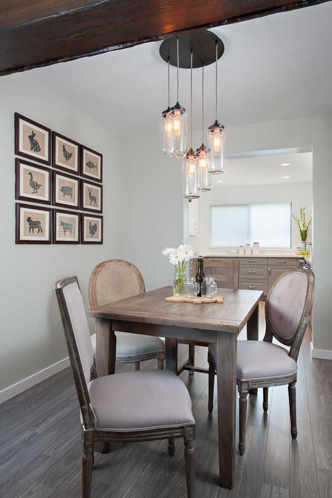 Benjamin Moore Gray Owl for a Traditional Dining Room with a Eclectic Lighting and Steveston Townhouse by the Spotted Frog Designs