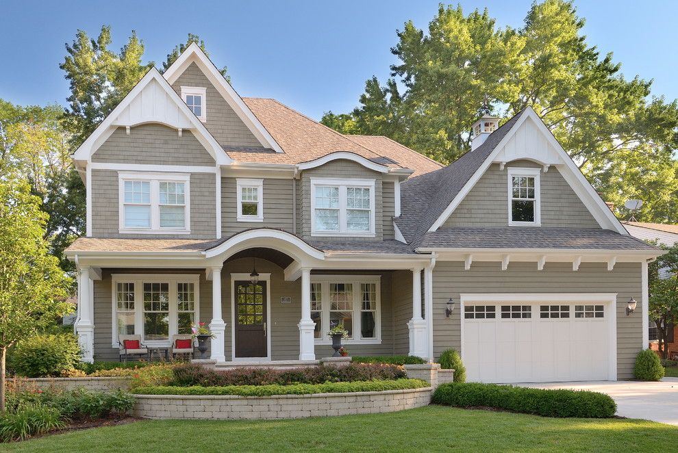 Benjamin Moore Gray Owl for a Traditional Exterior with a Roof Details and Bluegrass Living by Siena Custom Builders, Inc.