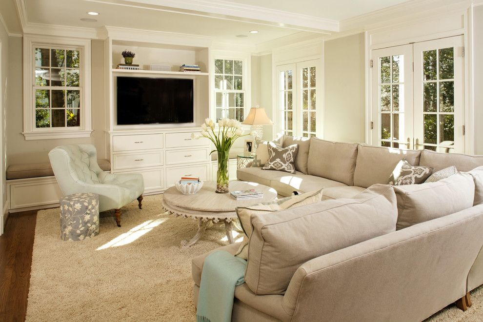 Benjamin Moore Gray Owl for a Traditional Living Room with a Crown Molding and Green with Envy: Leed Certified Whole House Renovation by Harry Braswell Inc.