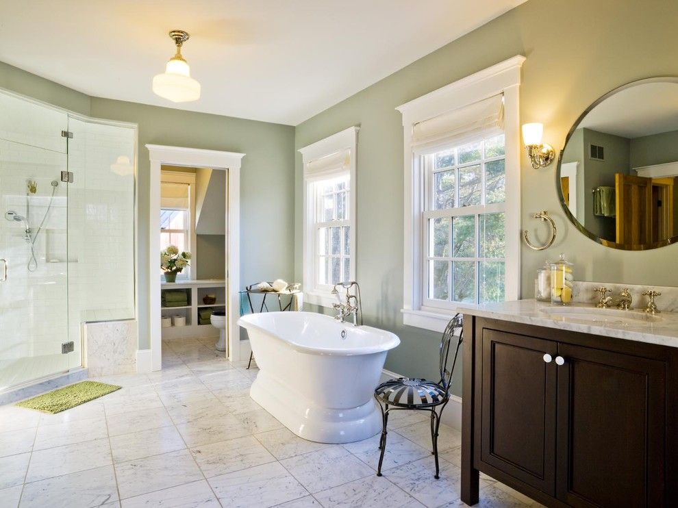Benjamin Moore Guilford Green for a Farmhouse Bathroom with a Roman Shades and Farmhouse Revival by Cushman Design Group