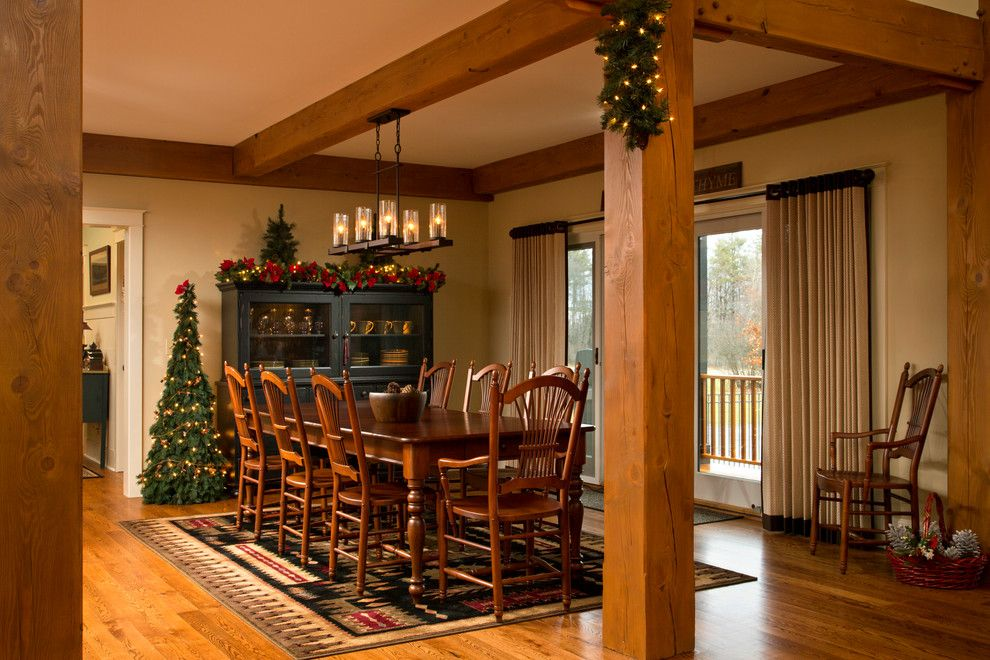 Benjamin Moore Guilford Green for a Traditional Dining Room with a Post and Beam and Rustic Refined by Teakwood Builders, Inc.