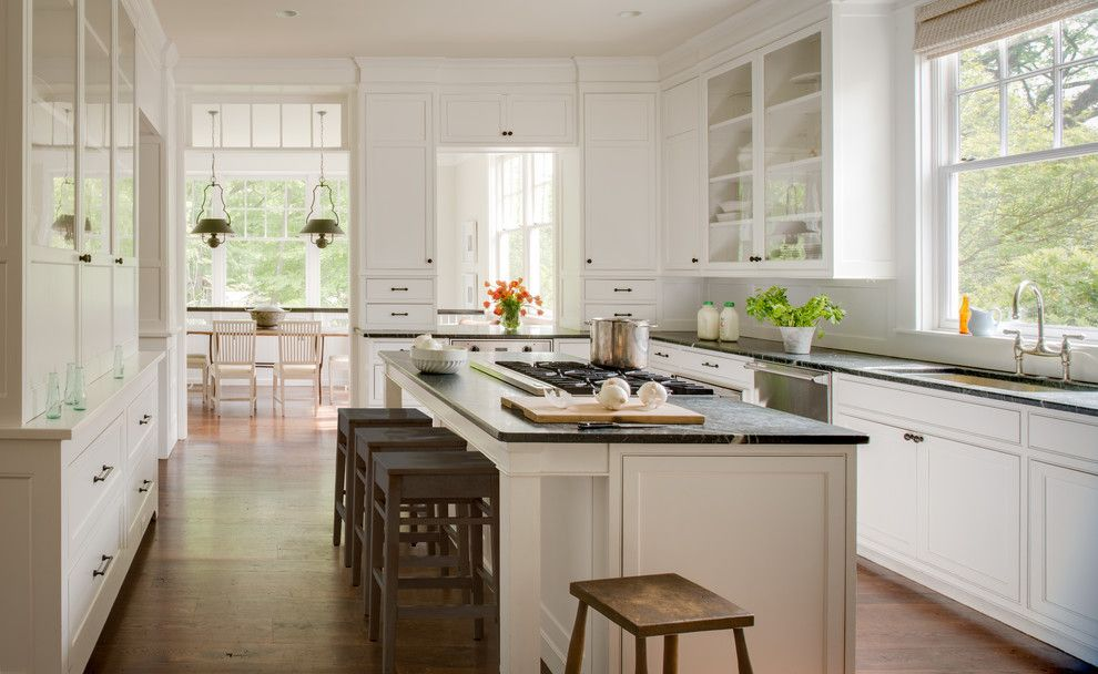 Benjamin Moore Guilford Green for a Traditional Kitchen with a Island Seating and American Revival by Donald Lococo Architects