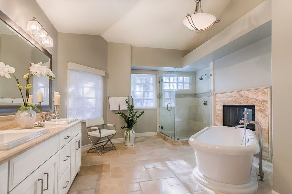 Benjamin Moore Guilford Green for a Transitional Bathroom with a Natural Light and Master Bath Renovation in Woodland Hills, Ca by Ferguson Bath, Kitchen & Lighting Gallery