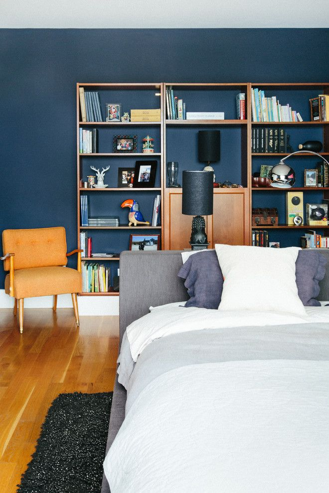 Benjamin Moore Hale Navy for a Contemporary Bedroom with a Narrow Space and Chez Noz: Master Bedroom by Noz Design